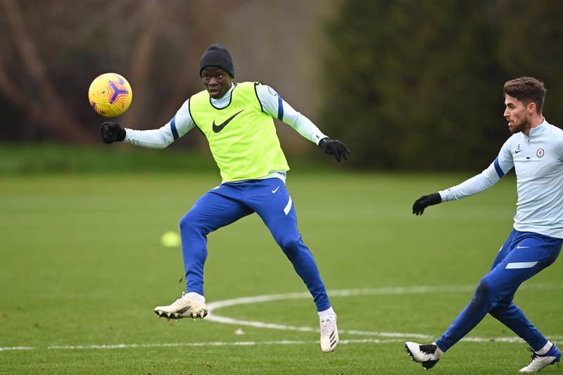 COBHAM, ENGLAND - DECEMBER 18:  N'Golo Kante of Chelsea during a training session at Chelsea Training Ground on December 18, 2020 in Cobham, England. (Photo by Darren Walsh/Chelsea FC via Getty Images)