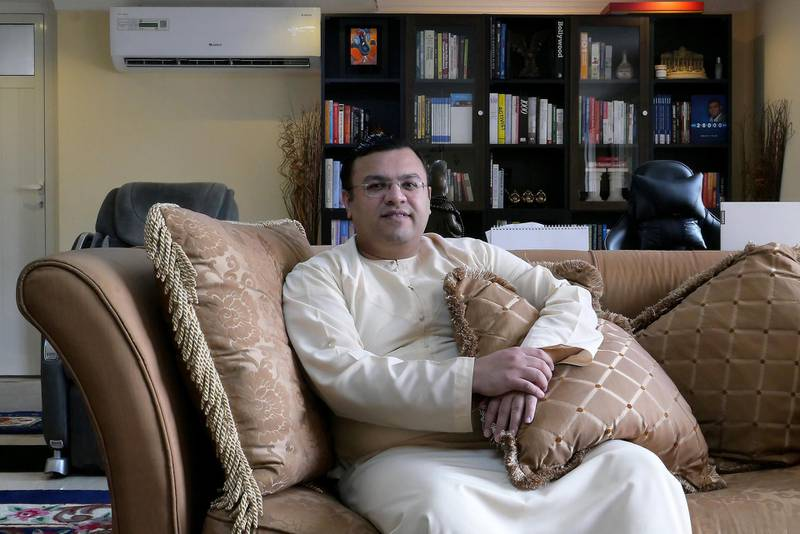 DUBAI, UNITED ARAB EMIRATES , Feb 25– 2020 :- Dr Sanjay Tolani, Managing Director & CEO - Goodwill World at his home office in the Meadows 8 in Dubai. (Pawan Singh / The National) For Business. Story by David