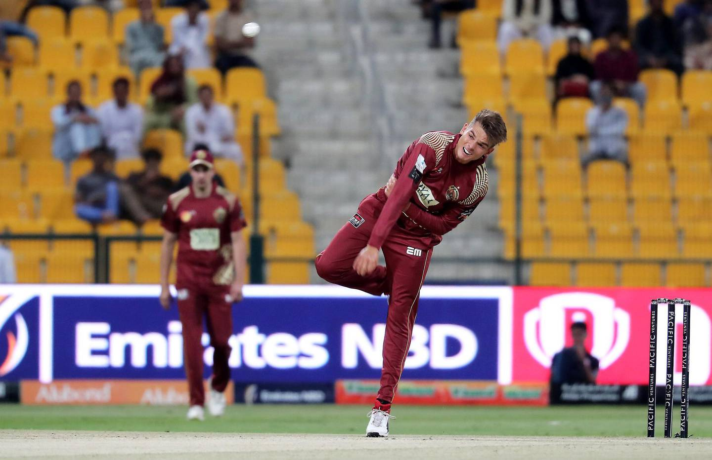 ABU DHABI , UNITED ARAB EMIRATES , Nov 19 – 2019 :- Chris Green of Northern Warriors bowling during the Abu Dhabi T10 Cricket match between Delhi Bulls vs Northern Warriors at Sheikh Zayed Cricket Stadium in Abu Dhabi. He took 3 wickets in this match. ( Pawan Singh / The National )  For Sports. Story by Paul