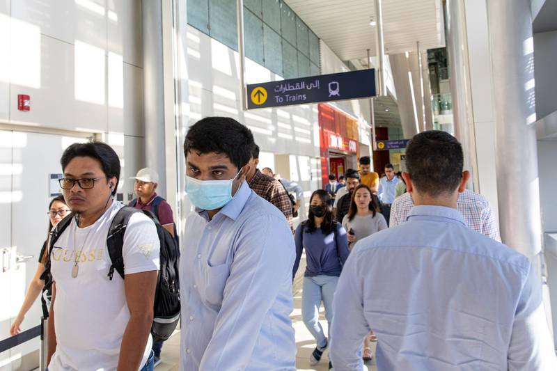A commuter, wearing protective face mask walks through a metro station in downtown Dubai, United Arab Emirates, on Thursday, March 5, 2020. The Middle East's travel and business hub has called on citizens and residents to avoid travel due to the coronavirus risk. Photographer: Christopher Pike/Bloomberg