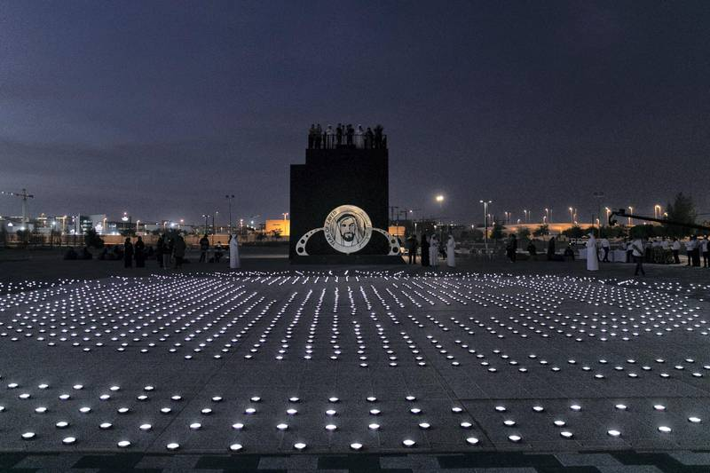 1ABU DHABI, UNITED ARAB EMIRATES - JANUARY 9, 2019. A 20mx20m light installation, comprised of 2,000 solar lanterns, arranged to reveal the Zayed Sustainability Prize logo.Following a month-long, five-country, transcontinental journey, the Zayed Sustainability Prizes Guiding Light campaign arrived to Abu Dhabi today. (Photo by Reem Mohammed/The National)Reporter: Section:  NA