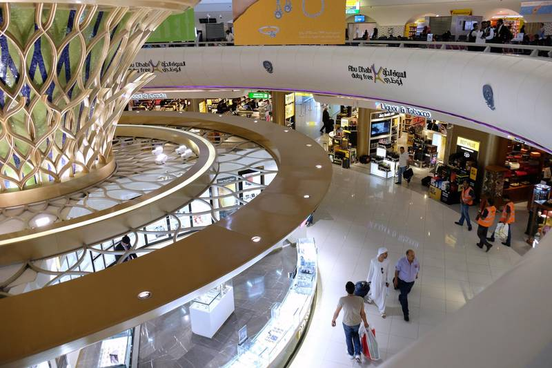 ABU DHABI, UNITED ARAB EMIRATES - - -  June 1, 2016 --- Passengers at Abu Dhabi International Airport can take advantage of Duty Free Shopping at the many shops at the airport. Photo taken on Tuesday, June 1, 2016, in Abu Dhabi.     ( DELORES JOHNSON / The National )   ID: 78835 Reporter:  none Section: BZ *** Local Caption ***  DJ-010616-BZ-STOCK-Etihad-78835-092.JPG DJ-010616-BZ-STOCK-Etihad-78835-092.JPGDJ-010616-BZ-STOCK-Etihad-78835-092.jpg