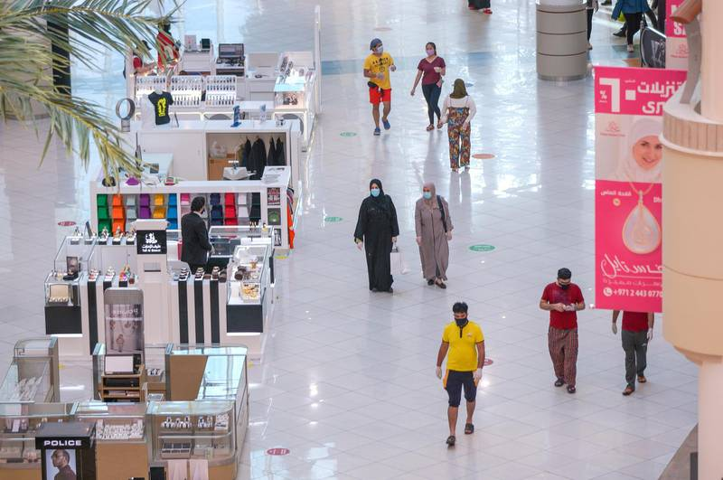 Abu Dhabi, United Arab Emirates, May 24, 2020.      Abu Dhabi residents at the Al Wahda Mall on the first day of Eid Al Fitr.Victor Besa  / The NationalSection:  Standalone / Stock