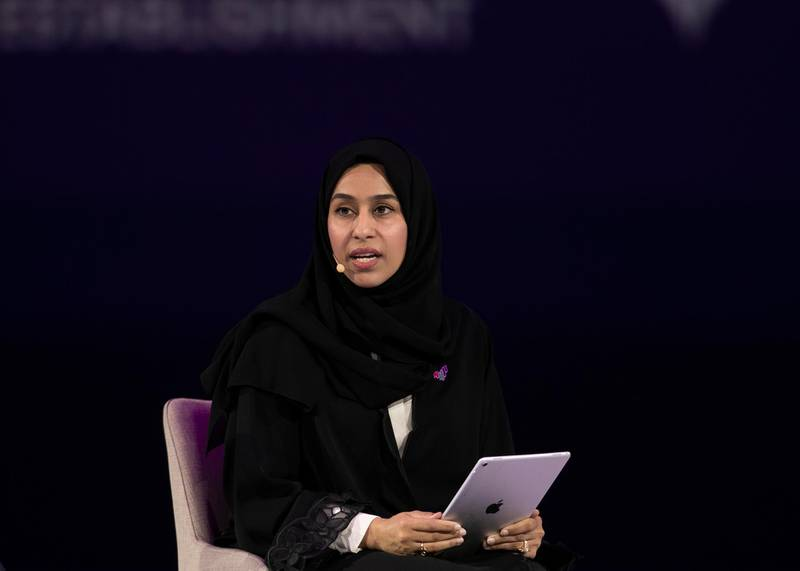 DUBAI, UNITED ARAB EMIRATES. 16 FEBRUARY 2020. H.E. HESSA BUHUMAID, Minister of Community Development – UAE; at GLOBAL GENDER BALANCE: BETWEEN RESPONSIBILITY AND RESPONSIVENESS session at Global Women's Forum Dubai.(Photo: Reem Mohammed/The National)Reporter:Section: