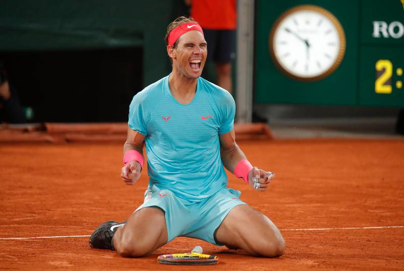 Tennis - French Open - Roland Garros, Paris, France - October 11, 2020 Spain's Rafael Nadal celebrates after winning the French Open final against Serbia's Novak Djokovic REUTERS/Charles Platiau
