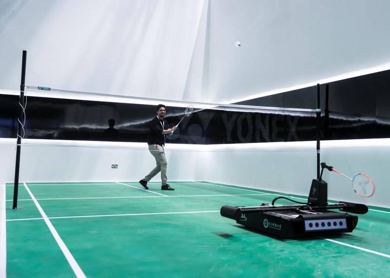 DUBAI, UNITED ARAB EMIRATES. 06 OCTOBER 2019. TRA's badminton robot challenge during Gitex Technology Week at Dubai World Trade Center.(Photo: Reem Mohammed/The National)Reporter:Section: