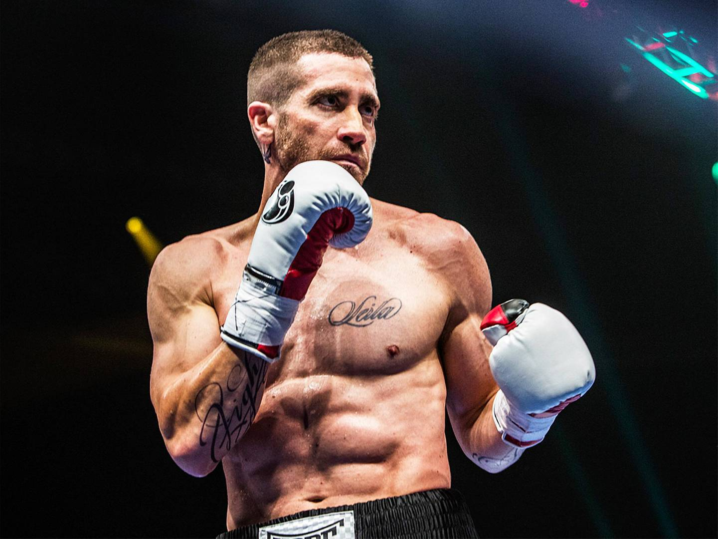 This photo provided by The Weinstein Company shows Jake Gyllenhaal as Billy Hope, in the film, Southpaw - The movie releases in the U.S. on July 24, 2015.  (Scott Garfield/The Weinstein Company via AP) *** Local Caption ***  P.45-Southpaw.jpg