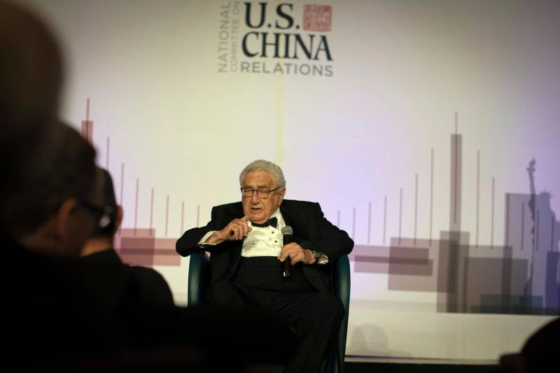 Former U.S. Secretary of State Henry Kissinger gives a speech at an annual dinner for the National Committee on U.S. China Relations, Thursday, Nov. 14, 2019, in New York. (AP Photo/Robert Bumsted)