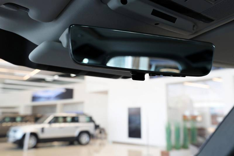 DUBAI, UNITED ARAB EMIRATES , June 27 – 2020 :- Rear view mirror of the Land Rover Defender SE model at the Land Rover Defenders showroom on Sheikh Zayed Road in Dubai. (Pawan Singh / The National) For Motoring. Story by Simon
