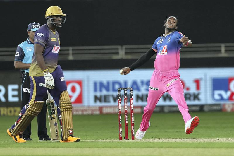 Jofra Archer of Rajasthan Royals during match 12 of season 13 of the Dream 11 Indian Premier League (IPL) between the Rajasthan Royals and the Kolkata Knight Riders held at the Dubai International Cricket Stadium, Dubai in the United Arab Emirates on the 30th September 2020.  Photo by: Ron Gaunt  / Sportzpics for BCCI
