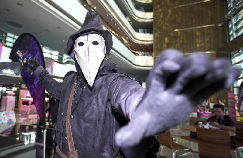 Dubai, United Arab Emirates, February 21, 2020.  Cosplay at Esports Festival World Finals at Meydan Grandstand, Dubai.  Cosplayer, Al Hashem as The Crow.Victor Besa / The NationalSection:  WKReporter:  None