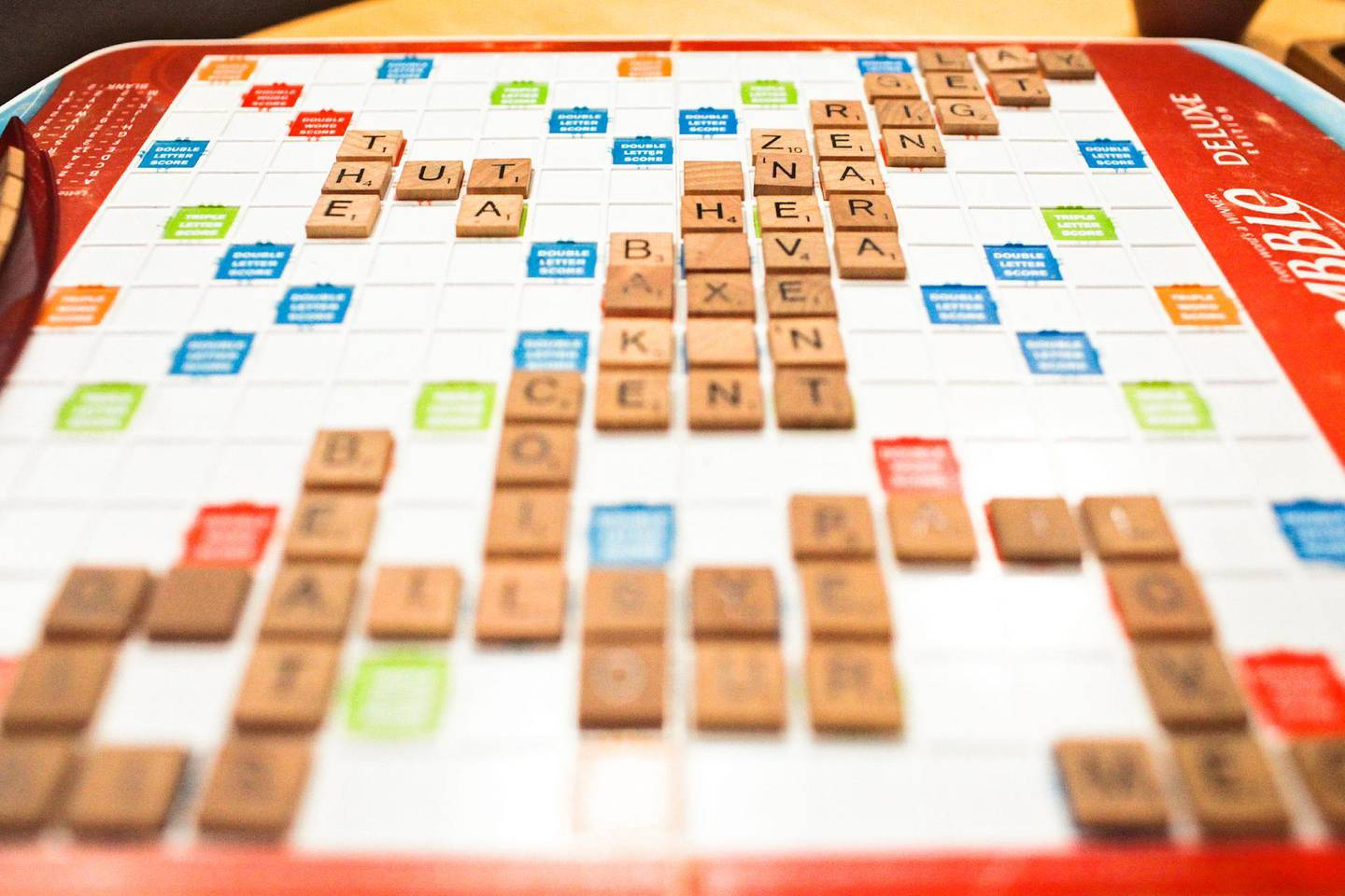 May 24, 2013, Dubai, UAE: The Tea House Junction, a cafe in Oud Metha, is home to the city's better teas and also to its gamers. Not video gamers but board gamers.   Seen here is one of the cafe's Scrabble boards.    Lee Hoagland/The National