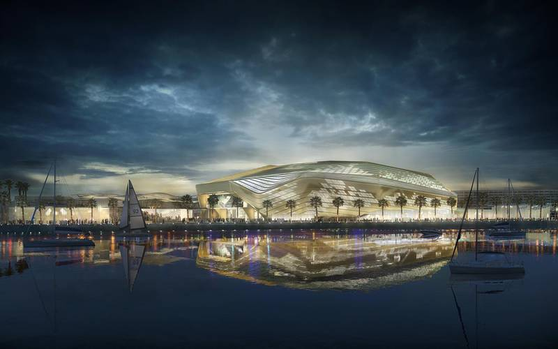 Yas Arena // ABU DHABI, UAE – 8 May 2017: Rendering of Miral's AED12 billion master development plan to transform the southern end of Yas Island in Abu Dhabi. The development is comprised of three distinct areas: Yas Bay, a vibrant public waterfront and entertainment district; the Media Zone, featuring the new campus of twofour54; and the Residences at Yas Bay, an urban island community, offering the complete Yas Island lifestyle. Courtesy Miral  *** Local Caption ***  YasArena.jpg