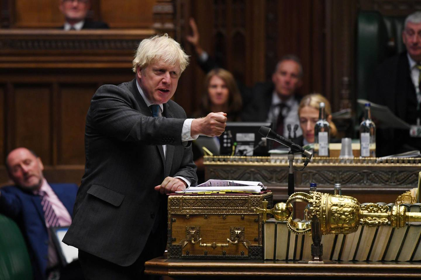 Britain's Prime Minister Boris Johnson speaks during the weekly question time debate in Parliament in London, Britain September 16, 2020. UK Parliament/Jessica Taylor/Handout via REUTERS THIS IMAGE HAS BEEN SUPPLIED BY A THIRD PARTY. MANDATORY CREDIT. IMAGE MUST NOT BE ALTERED