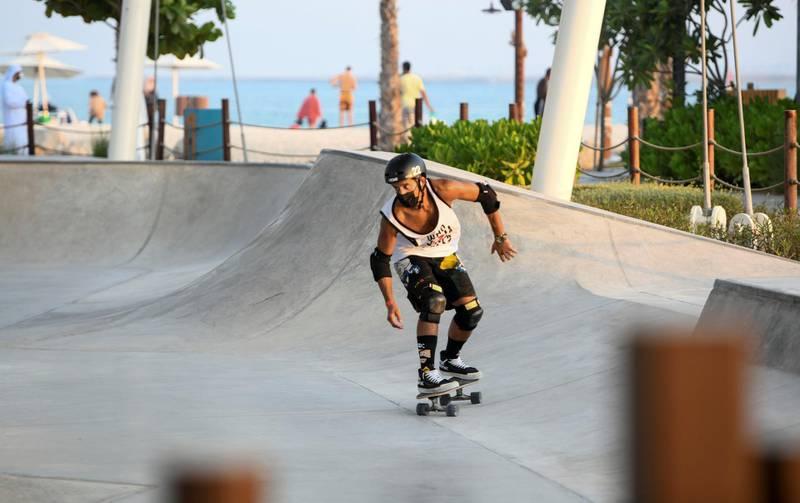 Evening-AD Skateboarding on Hudayriat Island, in Abu Dhabi on June 4, 2021. Khushnum Bhandari / The National  Reporter: N/A News