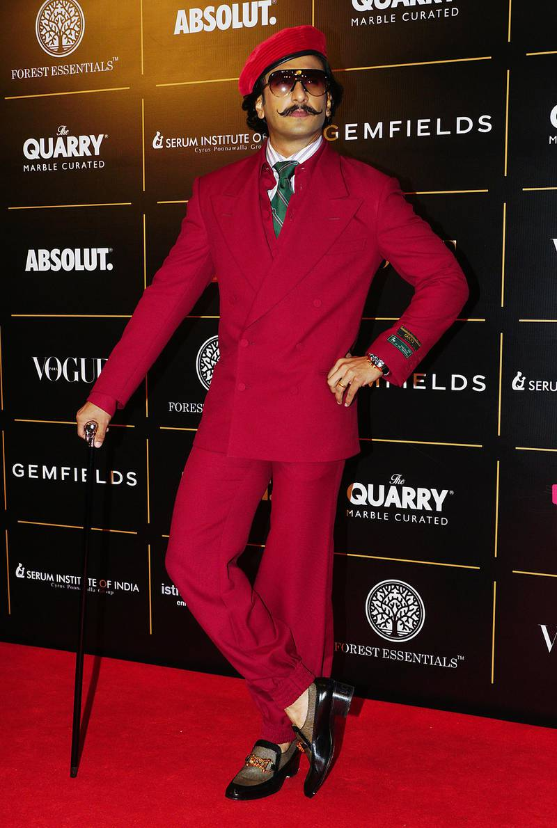 MUMBAI, INDIA - OCTOBER 19:  Actor Ranveer Singh attend the Vogue Women of the Year on October 19, 2019 in Mumbai, India. (Photo by Prodip Guha/Getty Images)