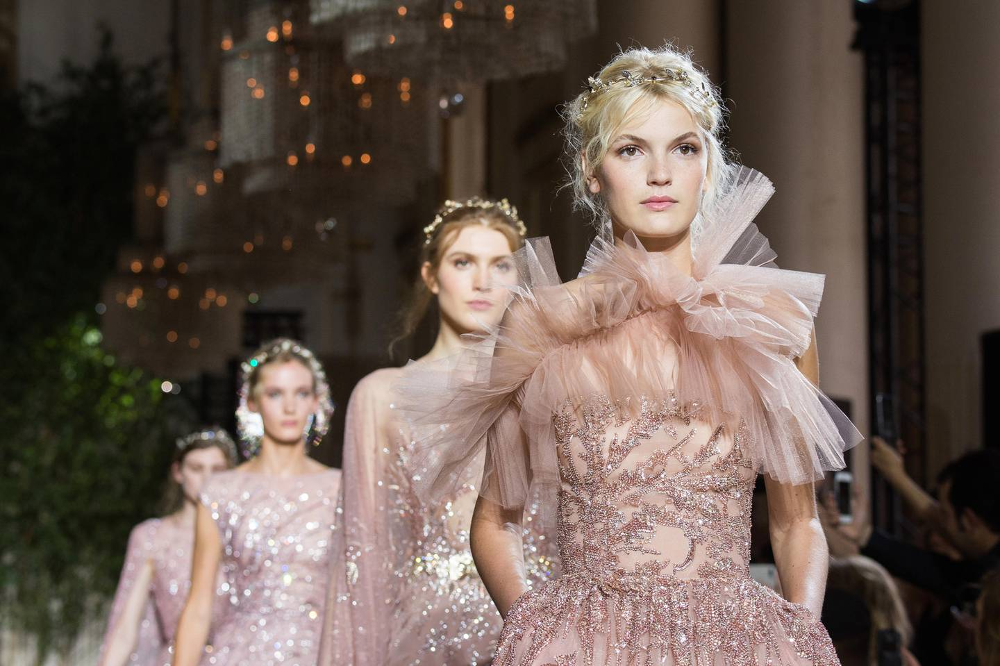 RESIZED. PARIS, FRANCE - JULY 05:  Models walk the runway during the Zuhair Murad  Haute Couture Fall/Winter 2017-2018 show as part of Haute Couture Paris Fashion Week on July 5, 2017 in Paris, France.  (Photo by Francois Durand/Getty Images)