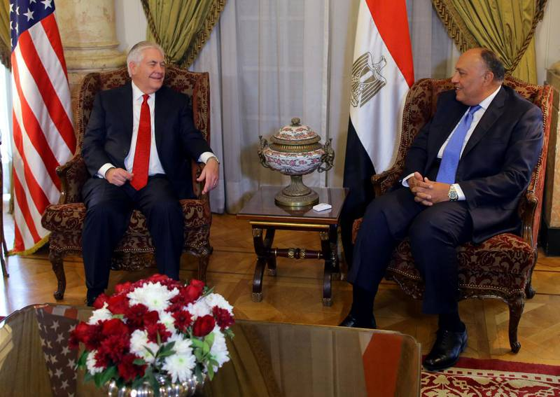 U.S. Secretary of State Rex Tillerson meets with Egyptian Foreign Minister Sameh Shoukry in Cairo, Egypt February 12, 2018. REUTERS/Khaled Elfiqi/Pool