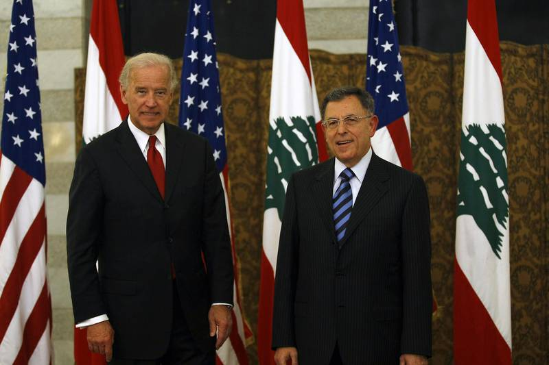 US Vice President Joe Biden (L) meets with Lebanese Prime Minister Fuad Siniora at the governmental palace in Beirut on May 22, 2009. Biden said that Washington will determine its aid to Lebanon based on the outcome of a tightly contested legislative election that the Islamist group Hezbollah could win. AFP PHOTO/JOSEPH BARRAK (Photo by JOSEPH BARRAK / AFP)