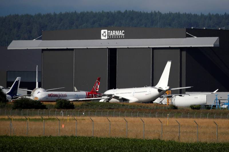 Airplanes sit on the tarmac at the site of French aircraft storage and recycling company Tarmac Aerosave in Tarbes following the coronavirus disease (COVID-19) outbreak in France, June 19, 2020. Picture taken June 19, 2020. REUTERS/Stephane Mahe