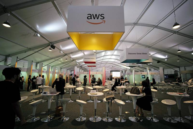 Amazon Web Services log is seen at Bahrain Technology Week, after AWS announced the opening of Data Centres in Bahrain by early 2019, in Manama, Bahrain, September 26, 2017. REUTERS/Hamad I Mohammed