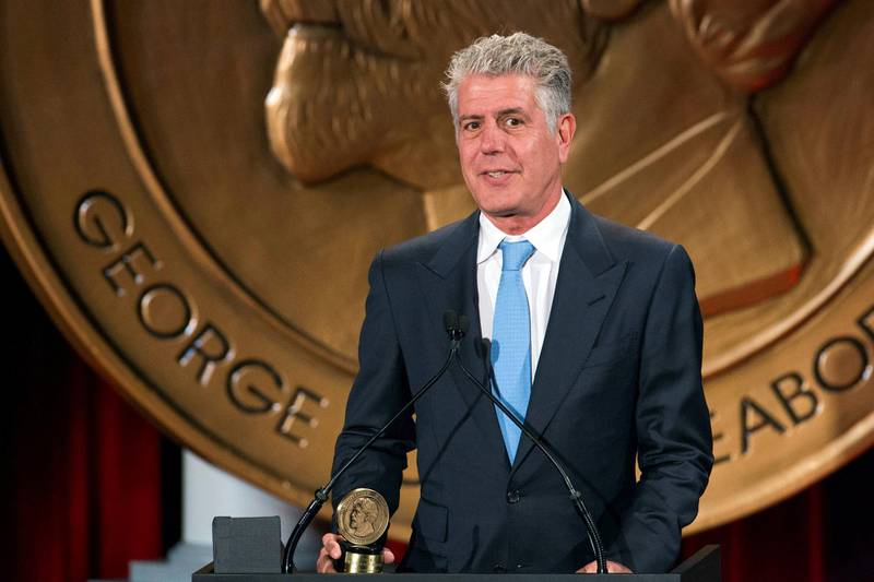 """FILE PHOTO: Television personality Anthony Bourdain speaks about the show """"Parts Unknown"""" after the show won a Peabody Award in New York, U.S., May 19, 2014. REUTERS/Lucas Jackson/File Photo"""