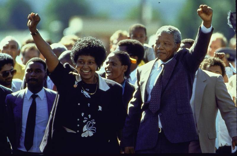 ANC ldr. Nelson Mandela and wife Winnie raising fists upon his release from Victor Verster prison after 27 yrs.  (Photo by Allan Tannenbaum/The LIFE Images Collection via Getty Images/Getty Images)
