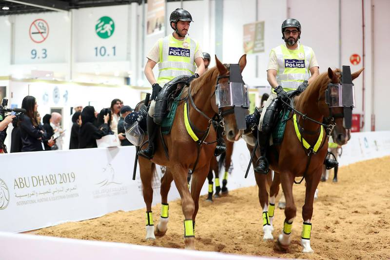 ABU DHABI ,  UNITED ARAB EMIRATES , AUGUST 27 – 2019 :- Members of the Abu Dhabi Police during the ADIHEX 2019 held at ADNEC in Abu Dhabi. ( Pawan Singh / The National ) For News/Online/Instagram/Big Picture. Story by Daniel