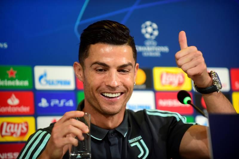 Soccer Football - Champions League - Juventus Press Conference - Allianz Stadium, Turin, Italy - October 21, 2019   Juventus' Cristiano Ronaldo during the press conference   REUTERS/Massimo Pinca