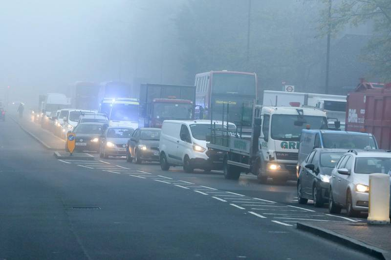 LONDON, UNITED KINGDOM - 2020/11/27: Heavy traffic in dense fog in London. Freezing cold and foggy weather is forecast across many parts of the UK. (Photo by Dinendra Haria/SOPA Images/LightRocket via Getty Images)