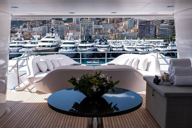 Furniture sits on a stern deck area of luxury superyacht Secret, manufactured by Abeking & Rasmussen, during the Monaco Yacht Show (MYS) in Port Hercules, Monaco, on Wednesday, Sept. 25, 2019. The MYS features 125 luxury superyachts and runs from Sept. 25 - 28. Photographer: Balint Porneczi/Bloomberg