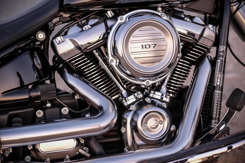 DUBAI, UNITED ARAB EMIRATES. 17 JANUARY 2018. The 2018 Harley Davidson Fatboy 107 cubic engine. Photographed at Al Qudra lakes in Dubai. (Photo: Antonie Robertson/The National) Journalist: Antonie Robertson. Section: Motoring.