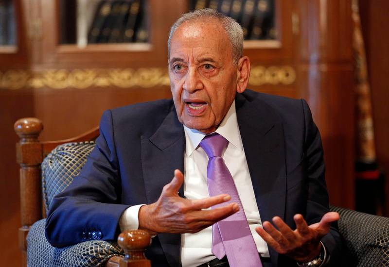 In this Friday, May 11, 2018 photo, Lebanese Parliament Speaker Nabih Berri, speaks during an interview with The Associated Press, in Beirut, Lebanon. Berri has been Lebanon's parliament speaker for a quarter-century, and is expected to win a sixth term this week. Even rivals acknowledge that the 80-year-old is a canny political operator, but his long tenure owes much to Lebanon's sectarian-based and elite-dominated political system. (AP Photo/Hussein Malla)