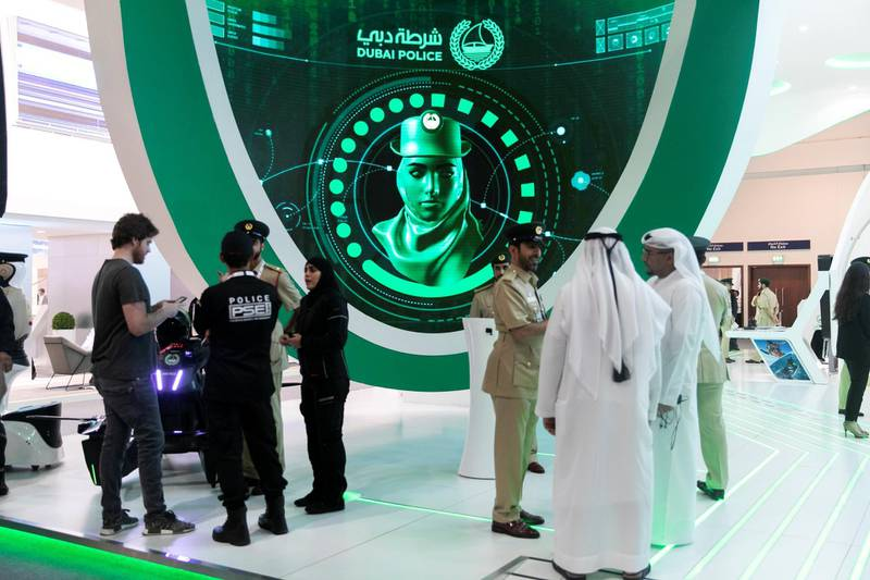 DUBAI, UNITED ARAB EMIRATES - OCTOBER 14, 2018. Dubai Police at Gitex Technology Week at DWTC.(Photo by Reem Mohammed/The National)Reporter: Section:  NA