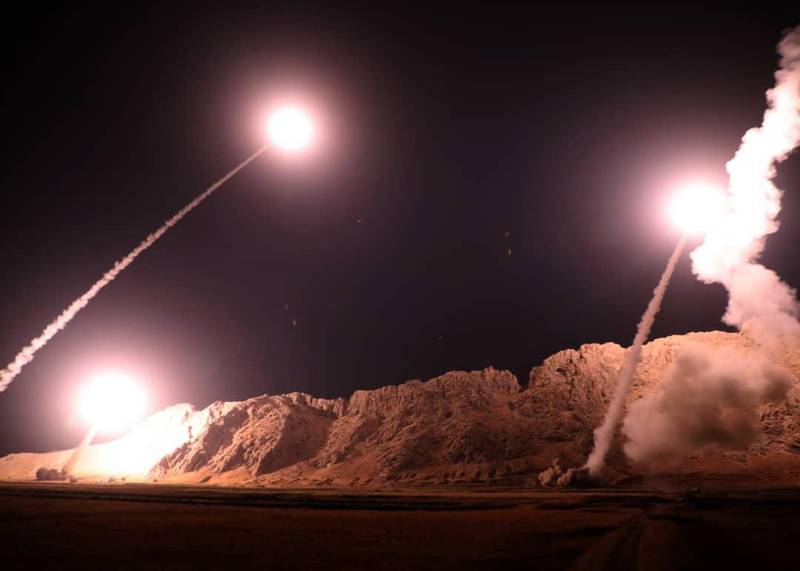 epa07060770 A handout photo made available by Irans Revolutionary Guard official website showing missiles being launches from an undisclosed location targeting the Islamic state group group in eastern Syria, 01 October 2018. Media reports state that the attack came after a recent terror attack on a military parade in city of Ahvaz southern Iran, which killed at least 25 people and wounded others.  EPA/SEPAHNEWS / HANDOUT  HANDOUT EDITORIAL USE ONLY/NO SALES