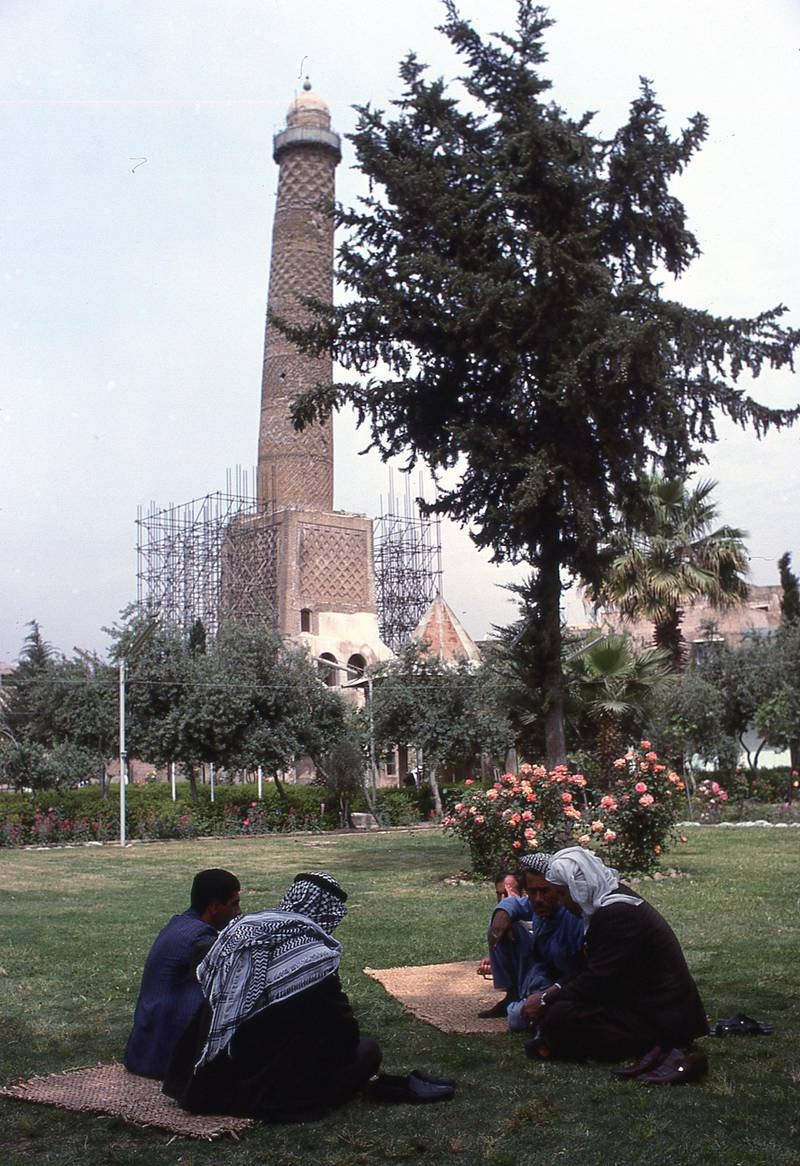 JE1BMD leaning minaret of Great Nuriya Mosque of Mosul recently destroyed by ISIS in Mosul Northern Iraq. Image shot 1978. Exact date unknown. Alamy