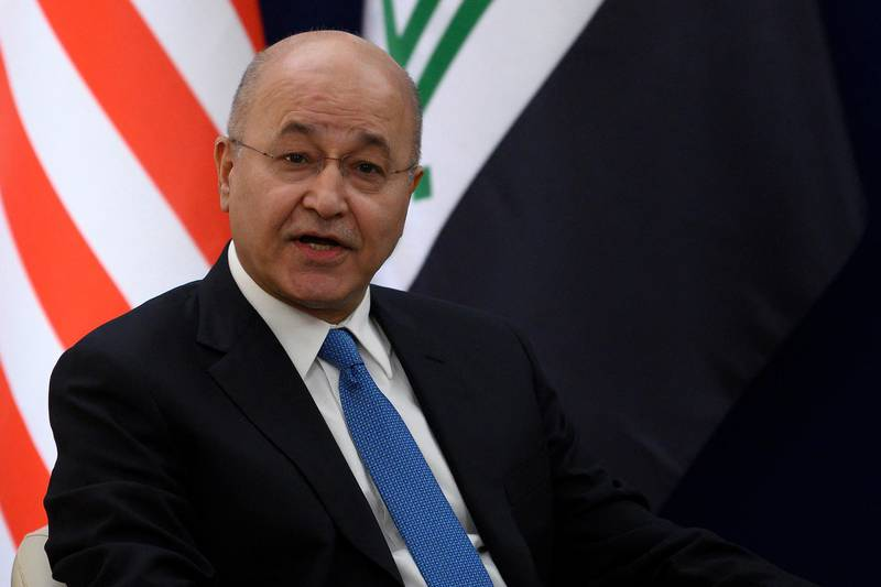 Iraqi President Barham Salih gestures during a bilateral meeting with US President Donald Trump at the World Economic Forum in Davos, Switzerland, on January 22, 2020. (Photo by JIM WATSON / AFP)