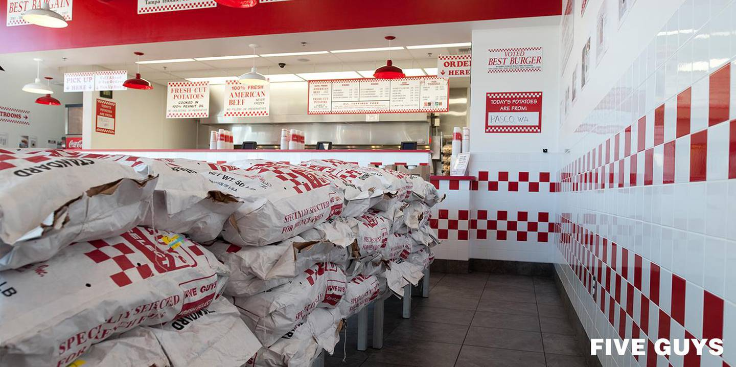 Five Guys. Courtesy of Five Guys *** Local Caption ***  Single_TW_Template-(6).jpg