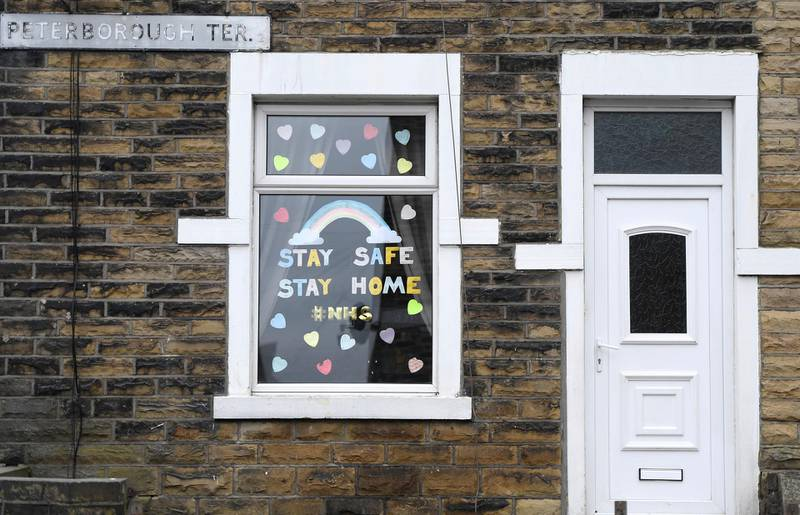 BRADFORD, ENGLAND - APRIL 30: A general view of a house showing support for the NHS on April 30, 2020 in Bradford, England. British Prime Minister Boris Johnson, who returned to Downing Street this week after recovering from Covid-19, said the country needed to continue its lockdown measures to avoid a second spike in infections. (Photo by George Wood/Getty Images)
