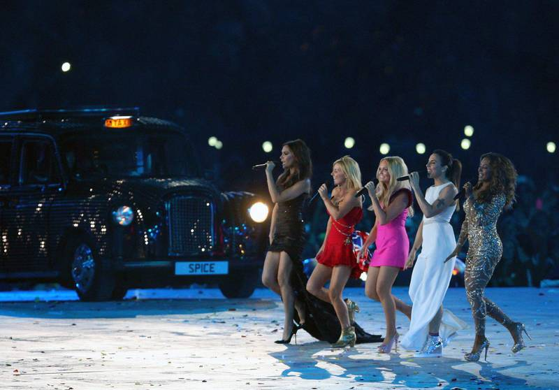 The Spice girls performsat the London 2012 closing ceremony as part of the 2012 London Olympic Summer Games at the Olympic Stadium, Olympic Park, London, England, UK on August 12th 2012 (Photo by AMA/Corbis via Getty Images)