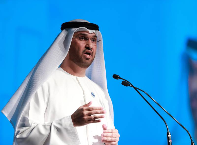 Abu Dhabi, UAE.  May 13, 2018. ADNOV Downstream Investment Forum.  Opening Address by H.E. Dr. Sultan Ahmed Al Jaber, UAE Minister of State and ADNOC Group CEO.Victor Besa / The NationalNationalReporter:  Jennifer Gnana