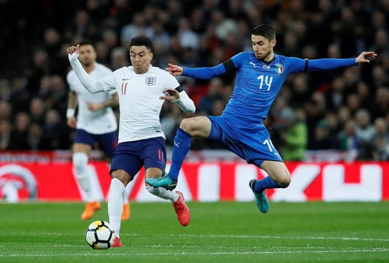 Soccer Football - International Friendly - England vs Italy - Wembley Stadium, London, Britain - March 27, 2018   England's Jesse Lingard in action with Italy's Jorginho     REUTERS/David Klein