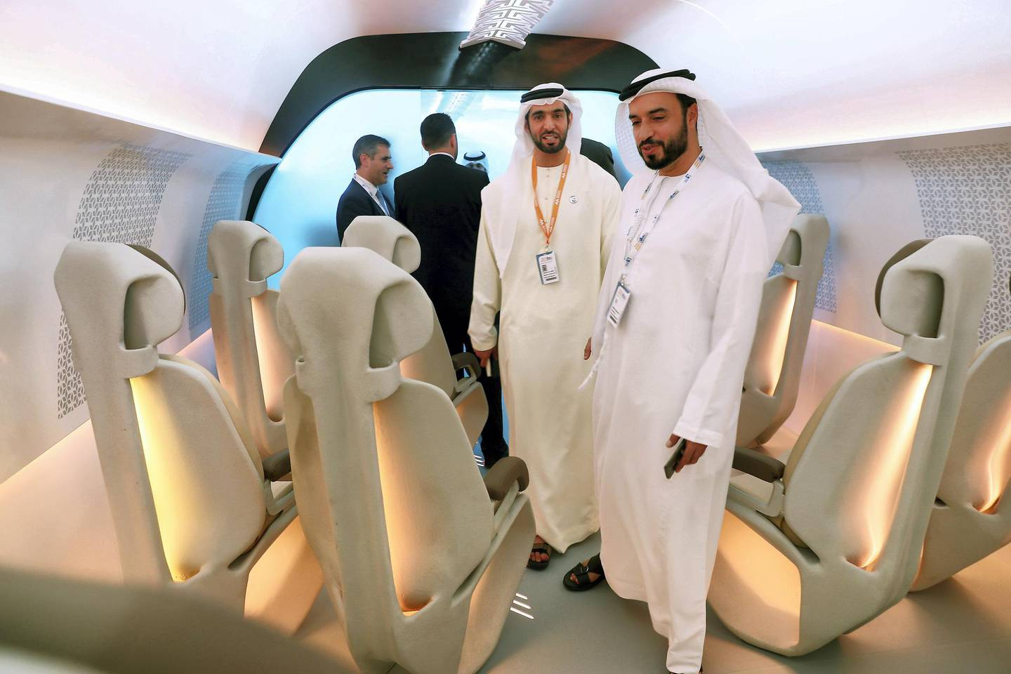 ABU DHABI ,  UNITED ARAB EMIRATES , SEPTEMBER 10 – 2019 :- Delegates looking the model of the Virgin Hyperloop One during the second day of the World Energy Congress held at ADNEC in Abu Dhabi. ( Pawan Singh / The National ) For Business. Story by Jennifer/Fareed