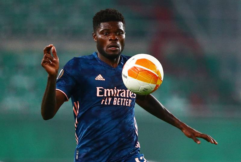 Soccer Football - Europa League - Group B - SK Rapid Wien v Arsenal - Allianz Stadion, Vienna, Austria - October 22, 2020 Arsenal's Thomas Partey in action REUTERS/Lisi Niesner