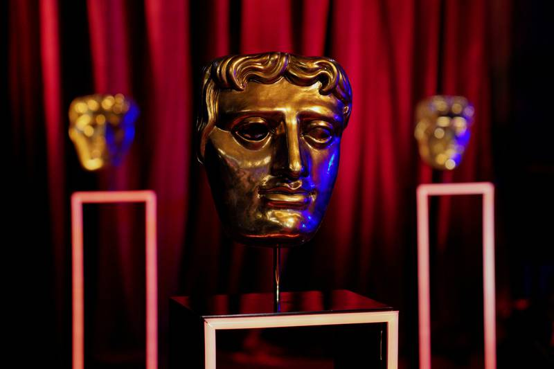 BAFTA award masks are seen on EE BAFTA Film Awards Opening Night during the 74th British Academy Film Awards at Royal Albert Hall in London, Britain, April 10, 2021.BAFTA/Scott Garfitt/Handout via REUTERS ATTENTION EDITORS - THIS IMAGE HAS BEEN SUPPLIED BY A THIRD PARTY. NO RESALES. NO ARCHIVES. MANDATORY CREDIT. FOR EDITORIAL USE ONLY IN REPORTING ON - 74TH BRITISH ACADEMY FILM AWARDS. IMAGE MUST BE USED IN ITS ENTIRETY - NO CROPPING OR OTHER MODIFICATIONS. NO NEW USE AFTER 2300GMT ON APRIL 18, 2021.