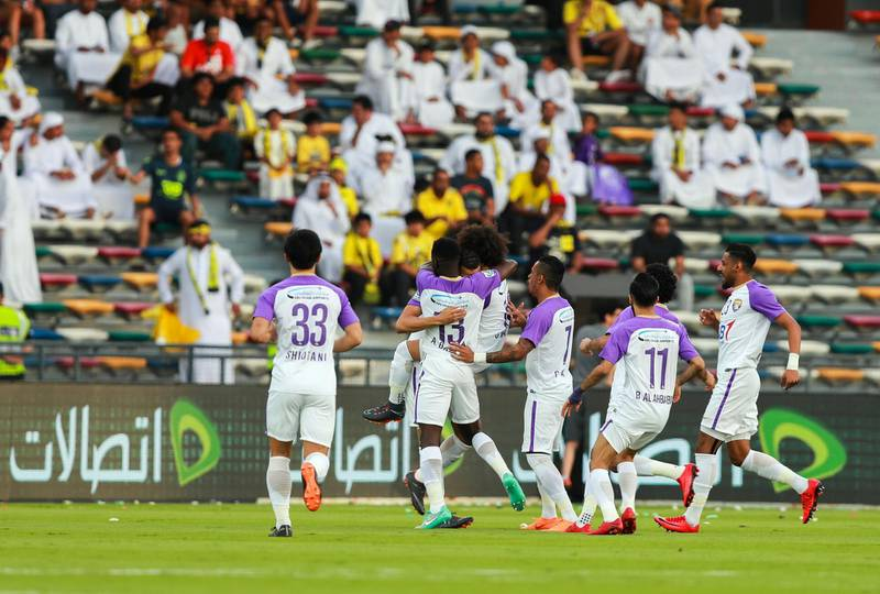 Abu Dhabi, UAE.  May 3, 2018.   President's Cup Final, Al Ain FC VS. Al Wasl.  Al Ain FC celebrate after the first goal in the first few minutes of the first half.Victor Besa / The NationalSportsReporter: John McAuley