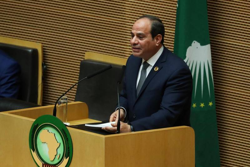 Egyptian President Abdel Fattah al-Sisi addresses the opening of the 32nd Ordinary Session of the Assembly of the Heads of State and the Government of the African Union (AU) in Addis Ababa, Ethiopia, February 10, 2019. REUTERS/Tiksa Negeri