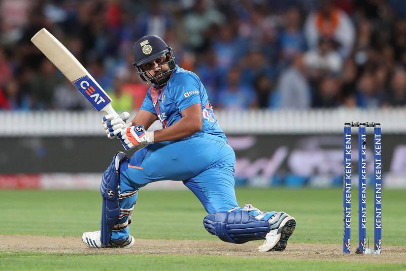 India's Rohit Sharma bats during the third Twenty20 cricket match between New Zealand and India at Seddon Park in Hamilton on January 29, 2020. / AFP / MICHAEL BRADLEY