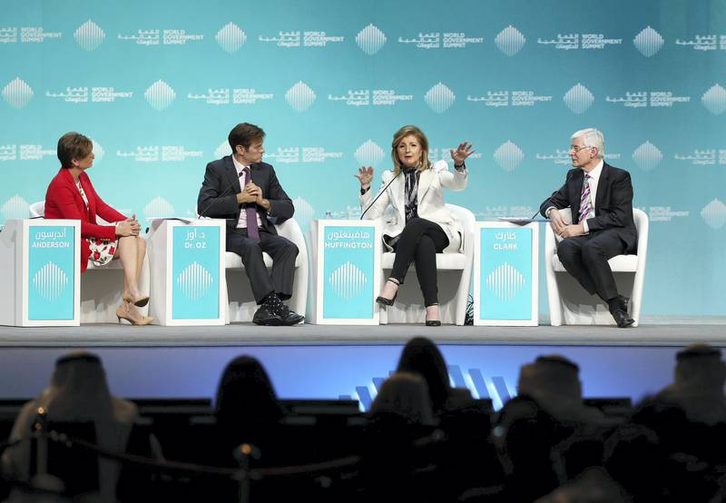 Dubai, United Arab Emirates - February 10, 2019: L-R Becky Anderson, Dr Oz, The Dr Oz show, Arianna Huffington, Founder, Thrive Global and David Clark Chair of Experimental Psychology, speak about mental health during day 1 at the World Government Summit. Sunday the 10th of February 2019 at Madinat, Dubai. Chris Whiteoak / The National