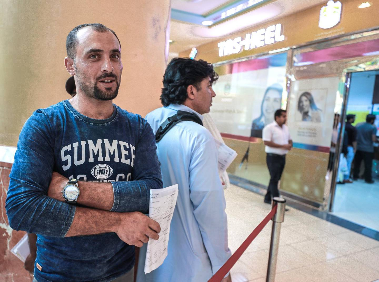 Abu Dhabi, U.A.E., October 29, 2018.  Two days from the deadline of UAE Amnesty.  Amnesty seekers at the Tasheel centre at Al Raha mall. --  Ahmed Al Saidi-32 from Egypt.Victor Besa / The NationalSection:  NAReporter:  Haneen Dajani